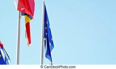 Flags of EU, Belgium and EUROZONE - Flags of European Union,...