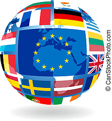 Flags of EU countries on globe sphere ball transparency