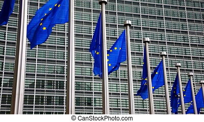 Flags of EU waving in wind near European Parliament - EU...