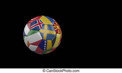 Flags of Euro 2 on slow flying soccer ball on transparent background, alpha channel