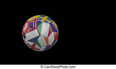 Flags of Euro 3 on slow flying soccer ball on transparent background, alpha channel