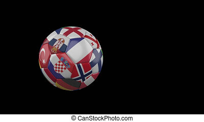 Flags of Euro 4 on slow flying soccer ball on transparent background, alpha channel
