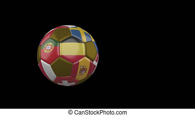 Flags of Euro on flying soccer ball on transparent background, alpha channel