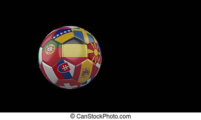 Flags of Euro on slow flying soccer ball on transparent background, alpha channel