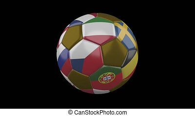 Flags of Euro on soccer ball quickly rotating on transparent background, alpha loop