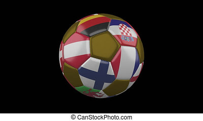 Flags of Euro on soccer ball rotating on transparent background, alpha loop