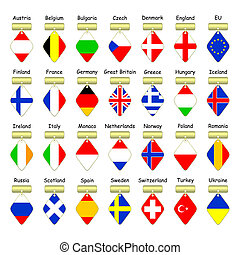 Flags of European countries.