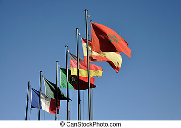 Flags of european countries in Marrakech