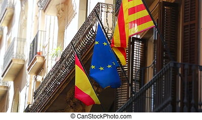 Flags Of European Union And Catalonia - Flag of Europe and...