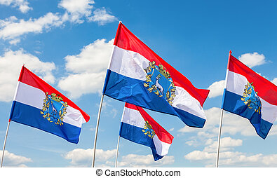 Flags of Federal Subjects of Russia. Flags of Samara region fluttering against the blue sky