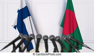 Flags of Finland and Bangladesh at international meeting or...