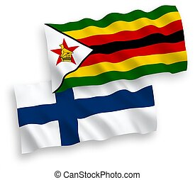 Flags of Finland and Zimbabwe on a white background - ...
