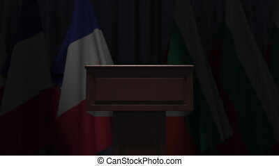 Flag and speaker podium tribune. Political event or negotiations related conceptual 3D