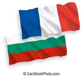 Flags of France and Bulgaria on a white background -...