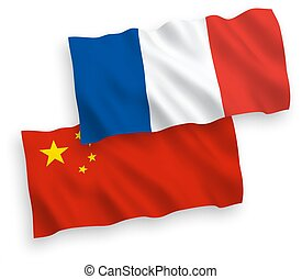 Flags of France and China on a white background