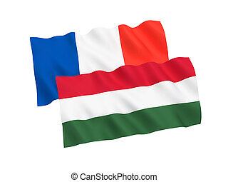 Flags of France and Hungary on a white background