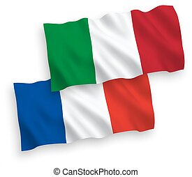 Flags of France and Italy on a white background