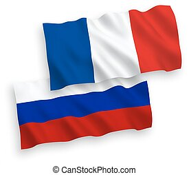 Flags of France and Russia on a white background