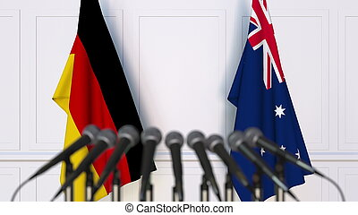 Flags of Germany and Australia at international meeting or conference. 3D rendering