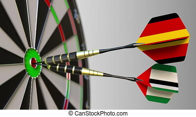 Flags of Germany and the UAE on darts hitting bullseye of the target. International cooperation or competition animation
