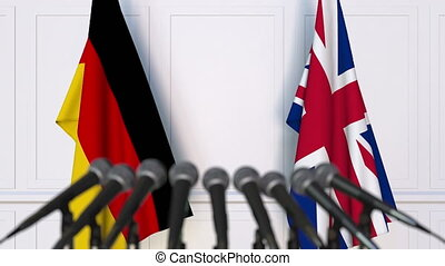 Flags of Germany and the United Kingdom at international...