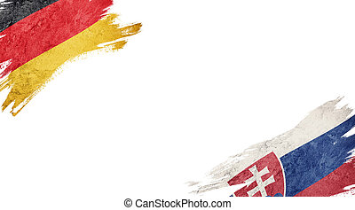 Flags of Germany and?Slovak on White Background