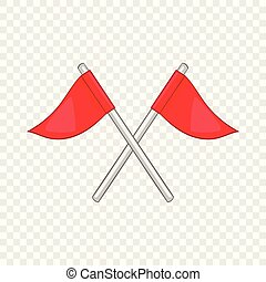 Flags of golf course icon, cartoon style