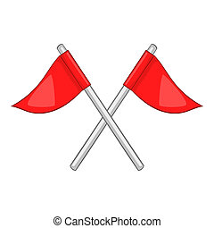 Flags of golf course icon, cartoon style - Flags of golf...