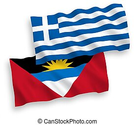 Flags of Greece and Antigua and Barbuda on a white ...