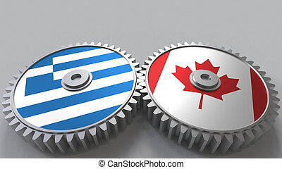 Flags of Greece and Canada on meshing gears. International cooperation conceptual 3D rendering