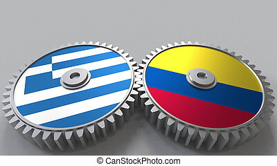 Flags of Greece and Colombia on meshing gears. International cooperation conceptual 3D rendering