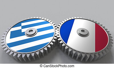 Flags of Greece and France on meshing gears. International cooperation conceptual 3D rendering