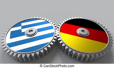 Flags of Greece and Germany on meshing gears. International cooperation conceptual 3D rendering