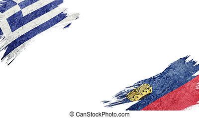 Flags of Greece and Liechtenstein on white background