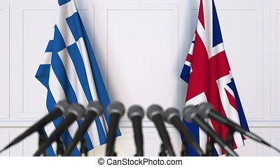 Flags of Greece and The United Kingdom at international...