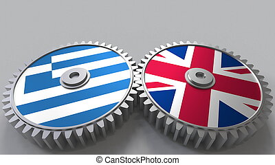 Flags of Greece and The United Kingdom on meshing gears. International cooperation conceptual 3D rendering