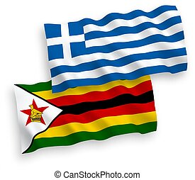 Flags of Greece and Zimbabwe on a white background - ...