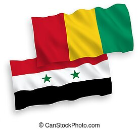 Flags of Guinea and Syria on a white background - National ...