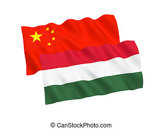 Flags of Hungary and China on a white background
