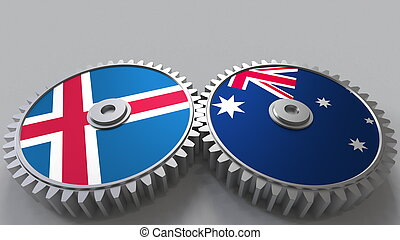 Flags of Iceland and Australia on meshing gears. International cooperation conceptual 3D rendering