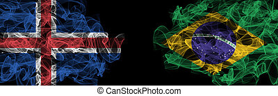 Flags of Iceland and Brazil on Black background, Iceland vs Brazil Smoke Flags
