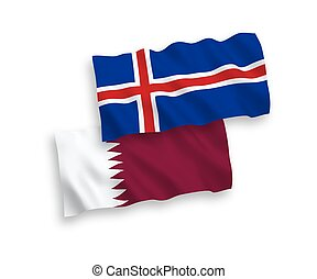 Flags of Iceland and Qatar on a white background - National ...