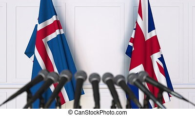 Flags of Iceland and The United Kingdom at international...