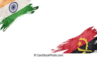 Flags of India and?Angola on White Background