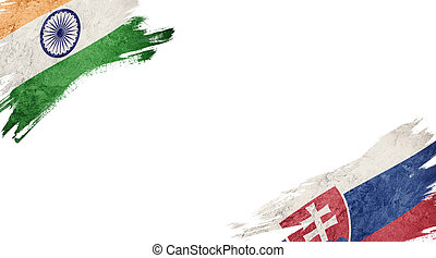 Flags of India and?Slovak Republic on White Background