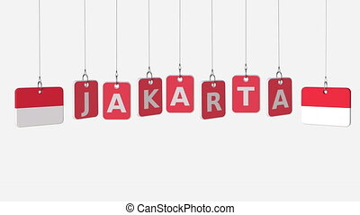 Flags of INDONESIA and Jakarta text on hanging plates. Alpha...