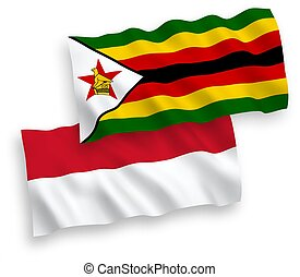Flags of Indonesia and Zimbabwe on a white background - ...