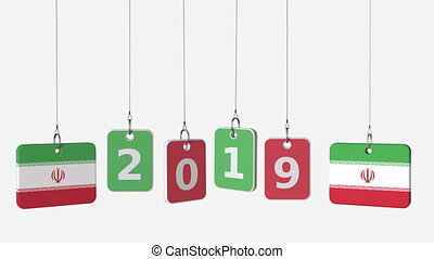 Flags of IRAN and 2019 text on hanging plates. Alpha matte...