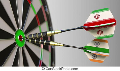 Flags of Iran and India on darts hitting bullseye of the target. International cooperation or competition animation