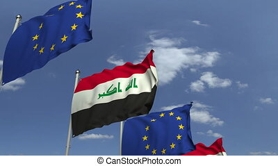 Flags of Iraq and the European Union at international...